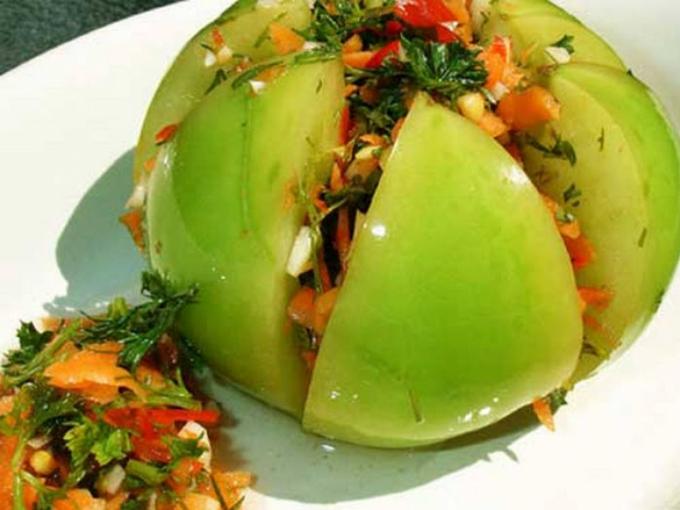 Соленые помидоры фаршированные капустой рецепт с фото